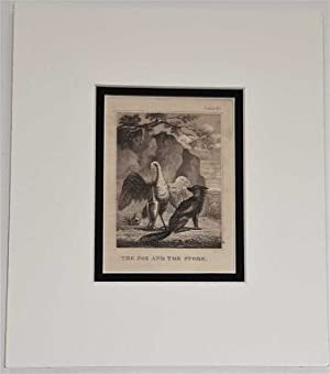 The Fox and the Stork C18th Aquatint engraving print Fable 85