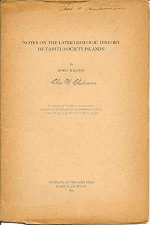 Notes on the Later Geologic History of Tahiti (Society Islands) Bulletin of the Department of ...