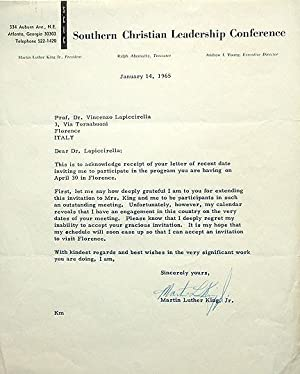 Typed Letter Signed, Atlanta, January 14, 1965: King, Martin Luther,