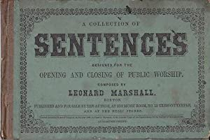 A Collection of Sentences Designed for the Opening and Closing of Public Worship [SCARCE MUSIC BOOK]