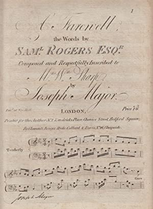 A Farewell. Composed and Respectfully Inscribed to Mrs. Wm. Sharpe By Joseph Major - SIGNED