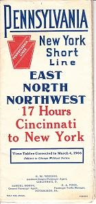 Pennsylvania New York Short Line - Through Cars and New Fast Time - East North Northwest. Time Ta...
