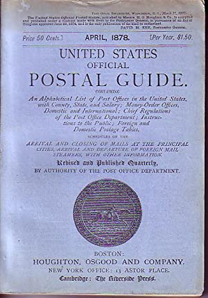United States Official Postal Guide.No. 15 - April 1878