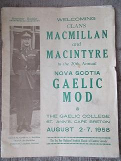 Souvenir Booklet. Welcoming Clans MacMillan and MacIntyre to the 20th Annual Nova Scotia GAELIC M...