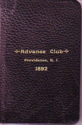 Organization, Constitution, By-Laws and Membership of the Advance Club, Providence, R.I.