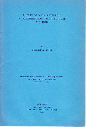 Public Opinion Research: A Contribution to Historical Method - SIGNED COPY, WITH LETTER LAID-IN