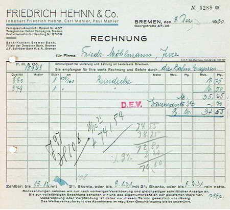 28xxx Bremen Friedrich Hehnn Co Stoffe 1930 Martina Berg