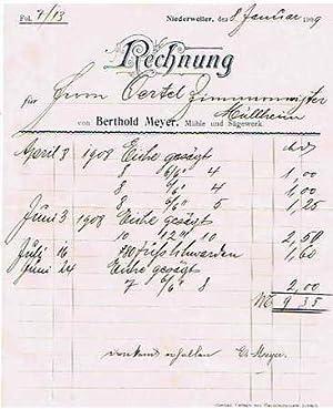 79379 Müllheim-Niederweiler - Berthold Meyer. Mühle und Sägewerk. 1909