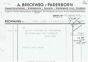 A. Breckweg. Transport, Tankstelle und Baustoffe. 1953