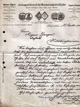 83088 Kiefersfelden - Actiengesellschaft für Marmorindustrie Kiefer. 1900