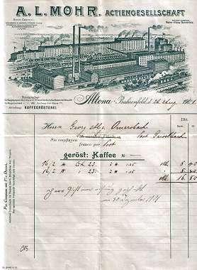 A.L. Mohr Actiengesellschaft. Kaffeerösterei. 1901