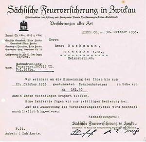 Sächsische Feuerversicherung in Zwickau. Versicherung. 1933