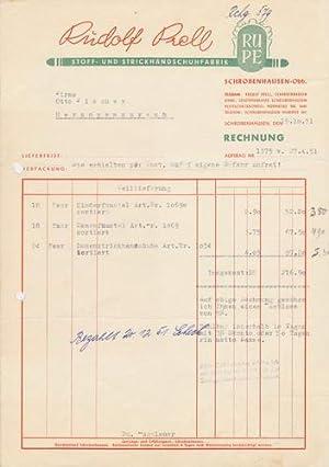 86529 Schrobenhausen - Rudolf Prell. Stoff- und Strickhandschuhe. 1951