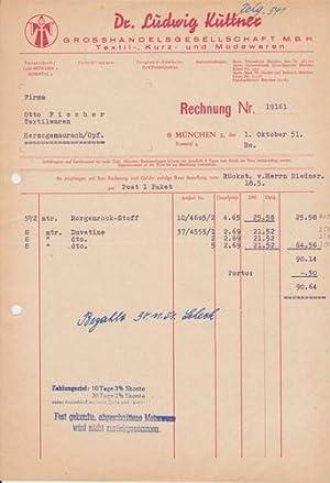 80xxx München - Dr. Ludwig Kuttner. Grosshandelsgesellschaft m.b.H. Textil. 1951