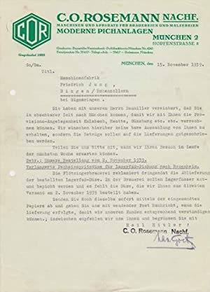 C.O. Rosemann Nachf. Maschinen und Apparate für Brauereien. 1939