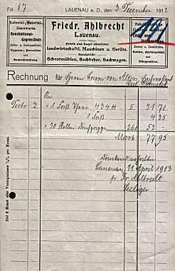 31867 Lauenau - Friedr. Ahlbrecht. Landwirtschaftliche Maschinen. 1912