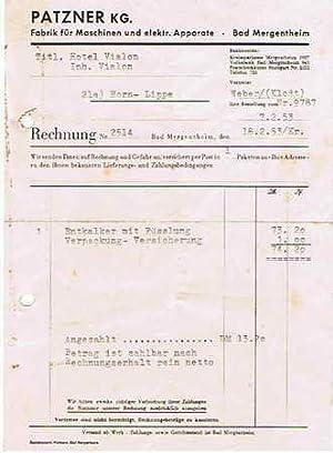 Patzner KG. Maschinen-Fabrik. 1953