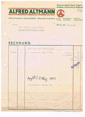Alfred Altmann. Papierwarenfabrik. 1936