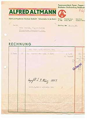 0282x Görlitz - Alfred Altmann. Papierwarenfabrik. 1936