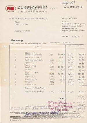 9076x Fürth/Bayern - Krauss & Belz. Abteilung Grosshandel. 1951
