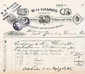 W. H. Hammig. Streichinstrumentenmacher. 189? (Datum unvollständig)