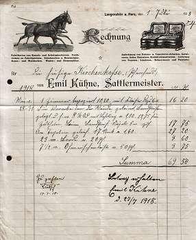 Emil Kühne. Sattlermeister. 1918