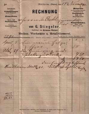 79379 Müllheim (Baden) - G. Stiegeler. Mech. Werkstätte und Metall-Giesserei. 1890