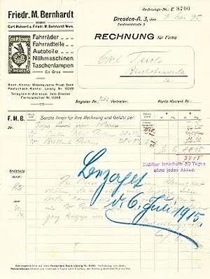 Friedr. M. Bernhardt. Fahrräder, Fahrradteile, Autoteile, Nähmaschinen, Taschenlampen en gros. 1915