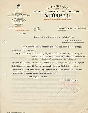 A. Türpe jr. Dresdner Fabrik für Möbel aus massiv gebogenem Holz. 1928