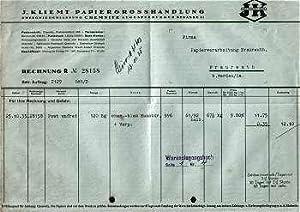091xx Chemnitz - J. Kliemt. Papiergrosshandlung. 1935