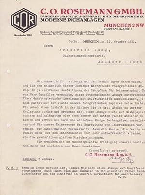 C.O. Rosemannn GmbH. Brauerei-Maschinen. 1931