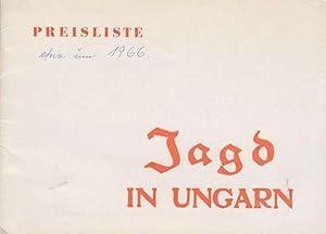 Jagd in Ungarn. Preisliste (um 1966): MAVAD
