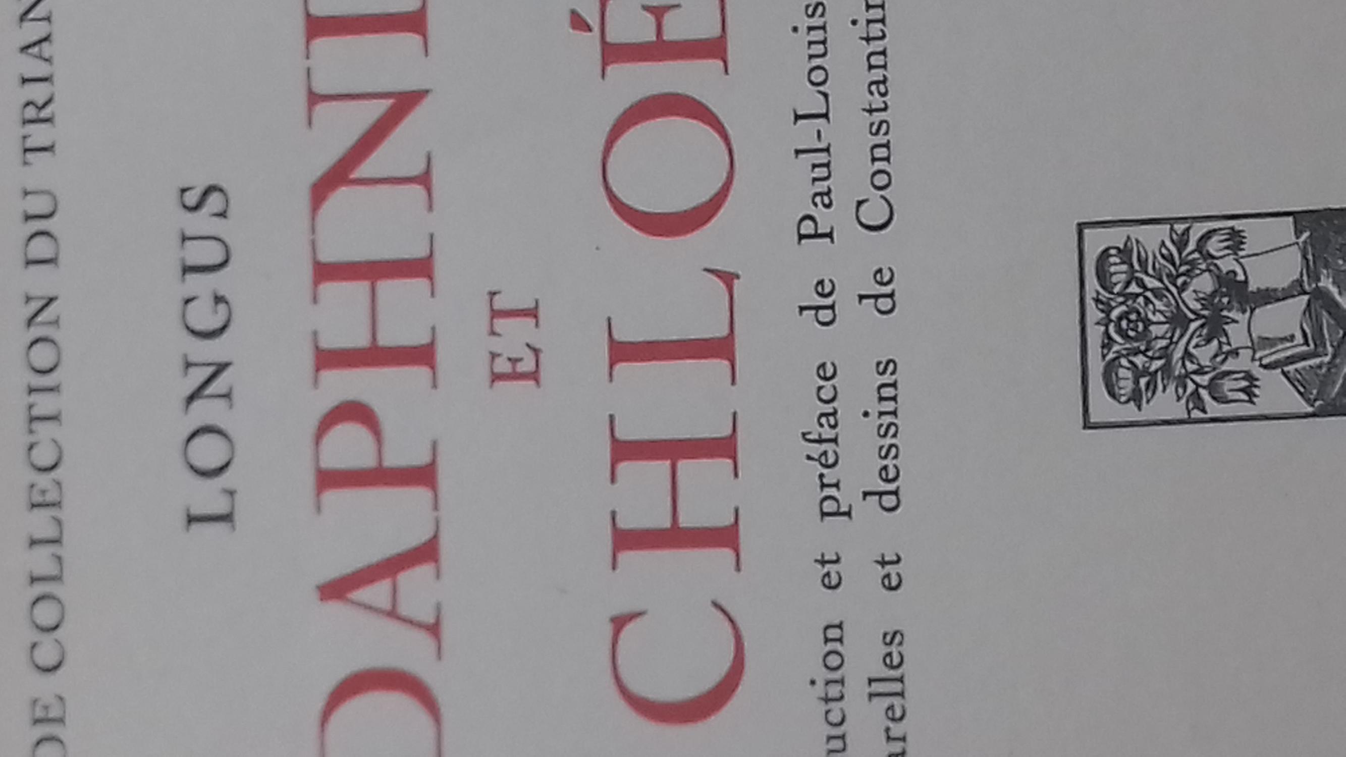 Daphnis et Chloé Traduction et préface de Paul-Louis Courier longus Fine Hardcover 1931 reliure demi cuir