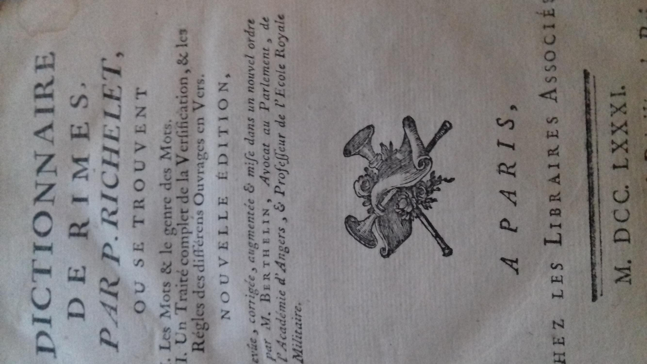 dictionnaire de rimes richelet