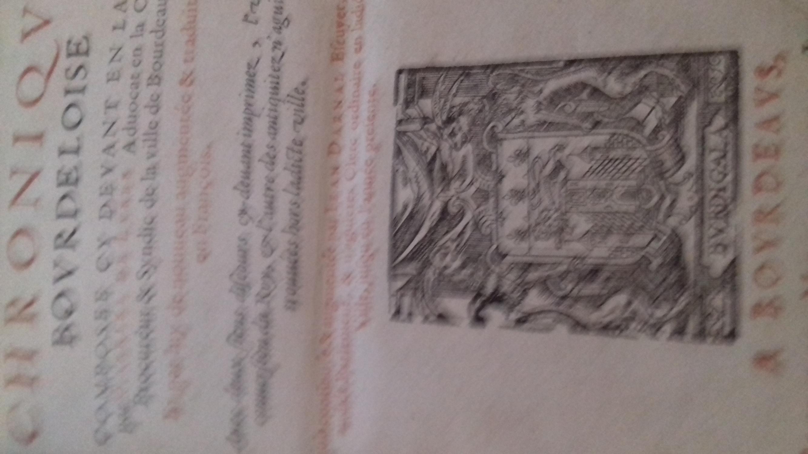 chronique bourdeloise gabriel de lurbe Near Fine Hardcover