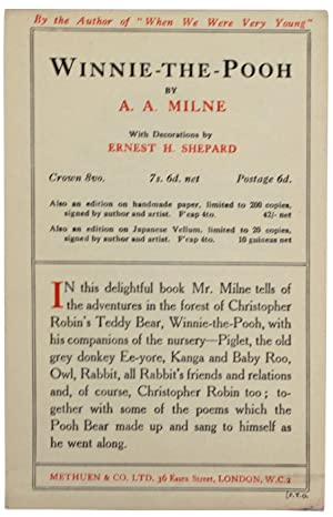 Winnie-The-Pooh. [Ephemera. Book Ad for first edition: MILNE, A.A.