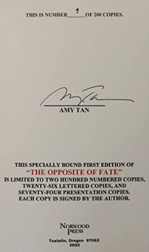 The Opposite of Fate, (Signed Limited/Numbered): Tan, Amy