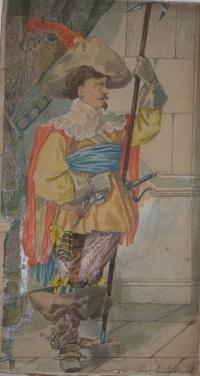 Original George Cruikshank Watercolor of a Seventeenth Century Cavalier