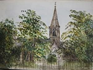 Sketchbook with Watercolors and Pencil Drawings of English Manor Houses and Churches and Assorted ...