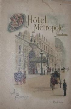 Hotel Metropole Northumberland Avenue London A Souvenir