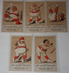 Collection of Five Trade Cards Featuring Baseball Caricatures