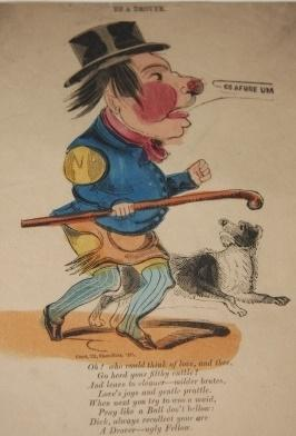 """Humorous Mid-Nineteenth Century Valentine """"To a Drover"""", """"Oh! who could think of love, ..."""
