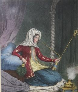 Print] European Woman in Exotic Ottoman Dress and with a Hookah Pipe, Amidst Cushions, Drapes, etc.