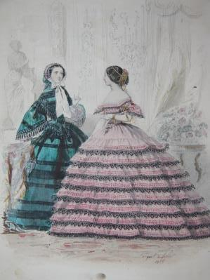 Original Watercolor and Pencil Drawing for a Fashion Plate Featuring Two Women in Gowns