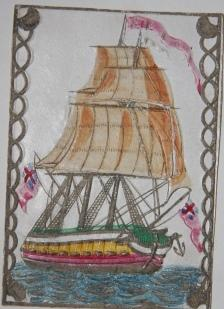 Valentine Card with a Hand-Colored and Relief Image of Three Masted Ship