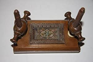 Nineteenth Century Maple and Bone Miniature Book Press with Tapestry Decoration