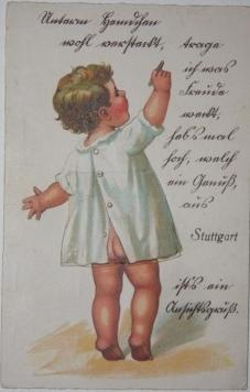 Postcard from Stuttgart Featuring an Infant with Crayon and Wearing a Smock with a Flap Pull-up, ...