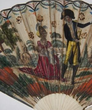 Late Eighteenth Century Fan with Hand-Colored Illustration of a Man in a Feathered Bicon Hat and a ...