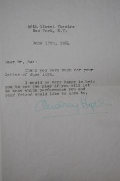 Letter Signed by Audrey Hepburn, June 18th, 1954