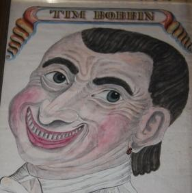 Pen and Ink and Watercolor Self-Portrait of Tim Bobbin: Bobbin, Timothy [John Collier]. (1708-1786)